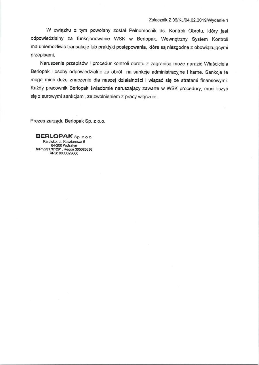 Deklaracja WSK Berlopak