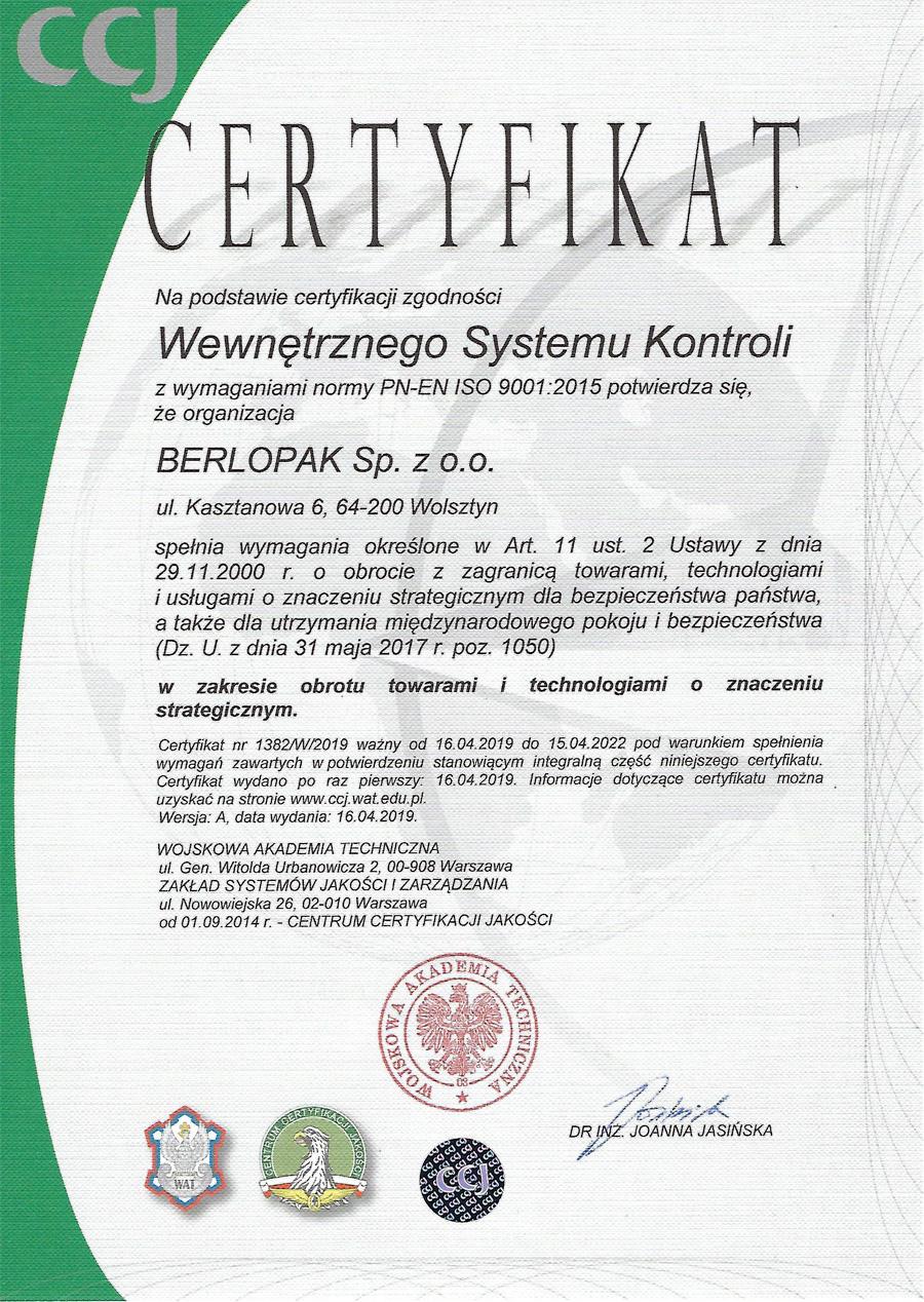 Ceryfikat Berlopak WSK
